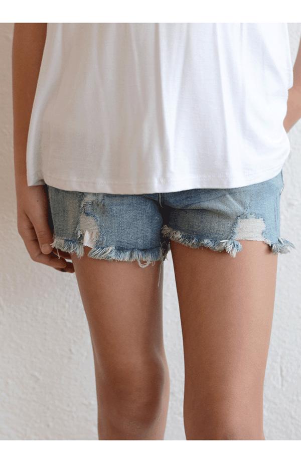 Tractr 5 PKT Basic Fray Shorts (Indigo)