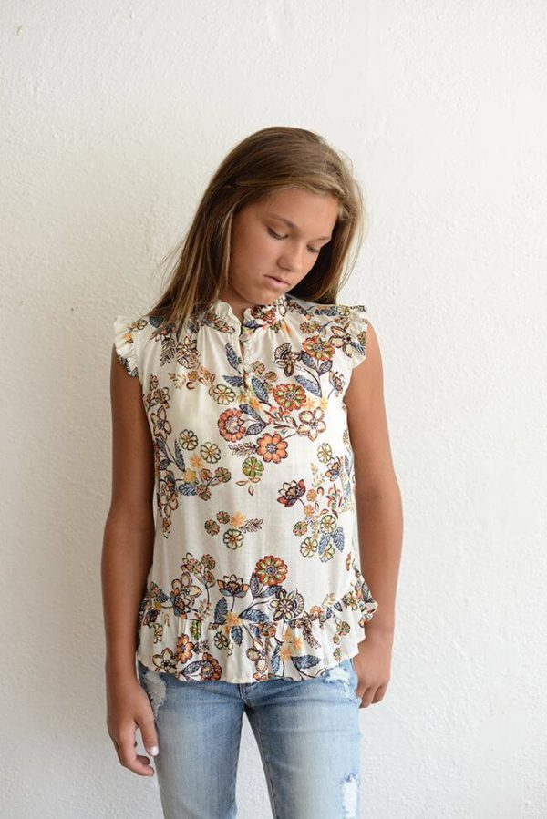 """PPLA """"Clea Woven Floral Blouse"""" Rust/Teal"""