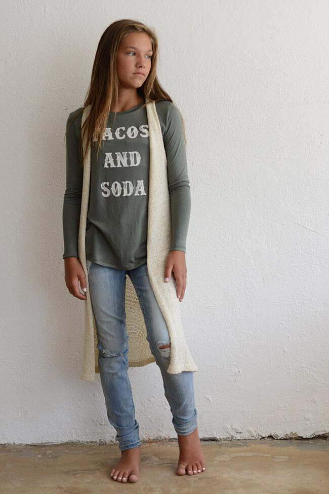 """PPLA """"Girls Taco and Soda Knit Top"""" Olive"""