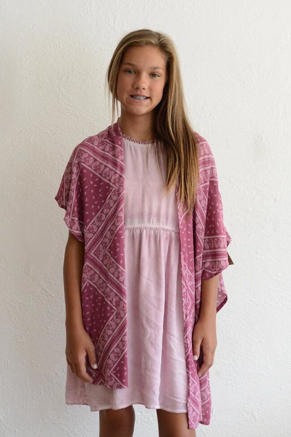 "PPLA ""Sunset Woven Kimono"" Berry"