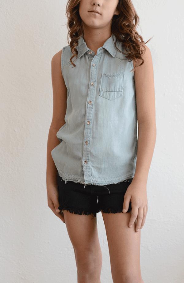 Tractr Sleeveless Chambray Shirt
