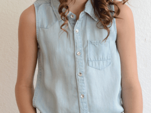 Tractr Sleeveless Chambray Shirt