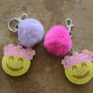 "Bari Lynn ""Flower Child Emoji"" Fur Keychain"