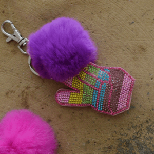"Bari Lynn ""Peace Out Emoji"" Fur Keychain"