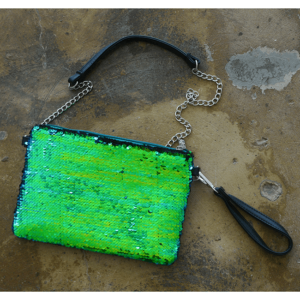 "Bari Lynn ""Reversible Sequin"" Purse Black/Green"