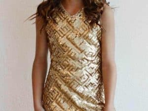 "Blush ""Sleeveless Sequin Dress"" Gold"