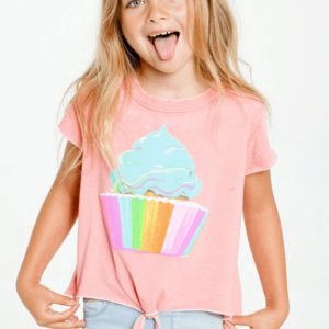 "Chaser ""Rainbow Cupcake"" Short Sleeve Tie Front Tee"