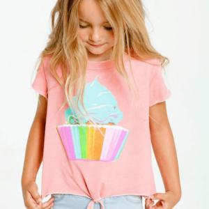 "Chaser ""Rainbow Cupcake"" Short Sleeve Tie Front Tee"