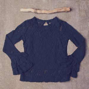 "Jak & Peppar ""Lace on My Mind Top"" Navy Bean"