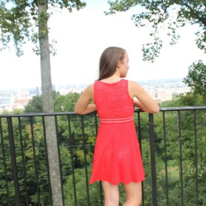 """""""Sleeveless Fit in Flair w/ Novelty Waist"""" Dress (Red) by Blush"""