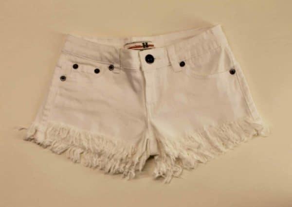 White Denim Frayed Shorts by Vintage Havana