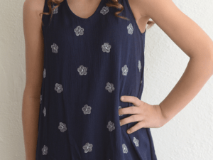 "Kiddo ""Floral Print Dress"" Navy"