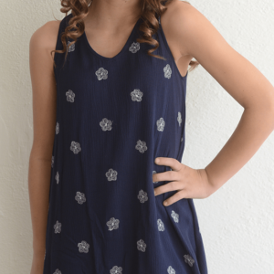 "Kiddo ""Floral Print Dress"" Navy"