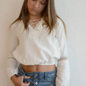 "Kiddo ""Lace Up Crop"" Long Sleeve"