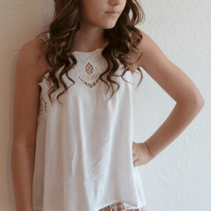 "Kiddo ""Open Lace Cami"" Ivory"