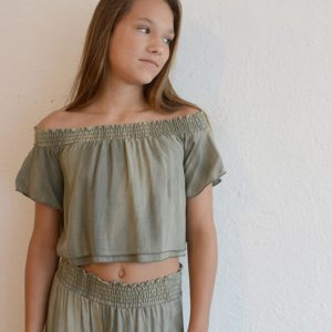 "Kiddo ""Sage Off-Shoulder Crop"""