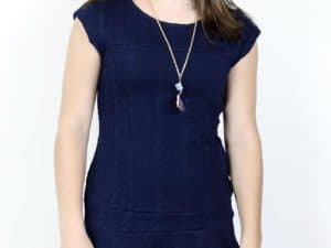 """Navy Cable Knit Dress"" by Nicole Miller"
