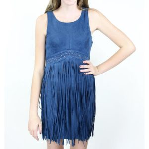"""Navy Fringe Frinzy"" Dress by Elisa B."