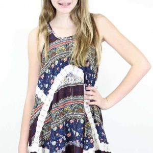 """Navy Mix Flowy Top"" by Hayden Girls, LA"
