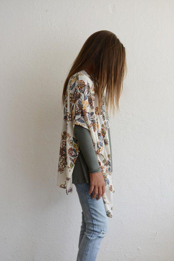 "PPLA ""Girls Callia Floral Kimono"" Rust/Teal"