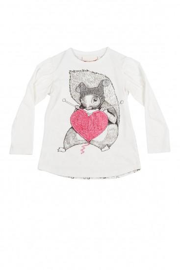 "Paper Wings Puff Sleeve Tee ""Knitting Squirrel"""