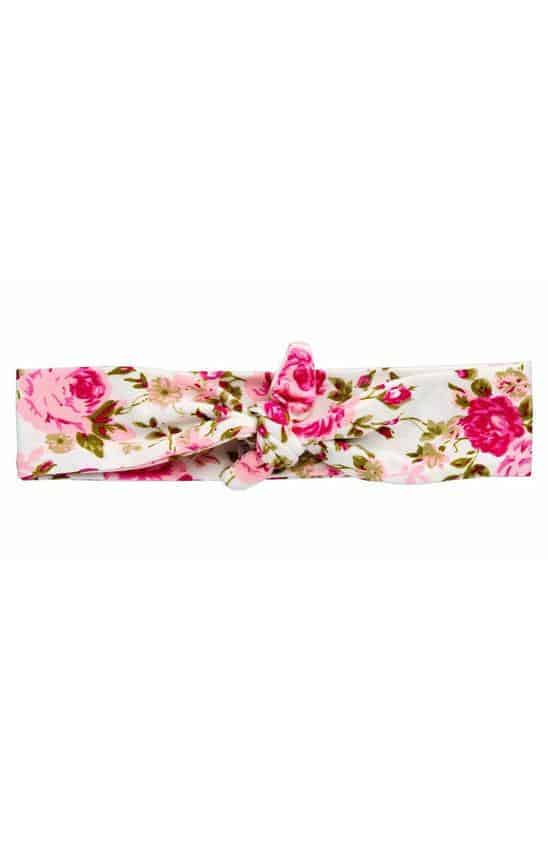 """Floral Knotted"" Pink Floral Girls Headband"