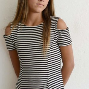 "Rosie G ""Girls Cutout Stripe Dress"""