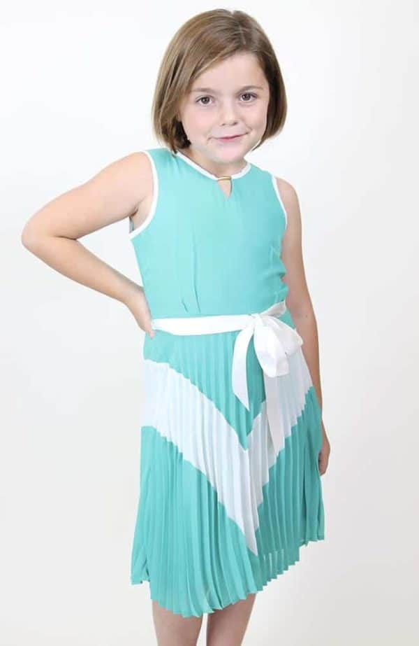 """""""Sleeveless Color Block w/ Pleated Skirt"""" Dress by Blush"""