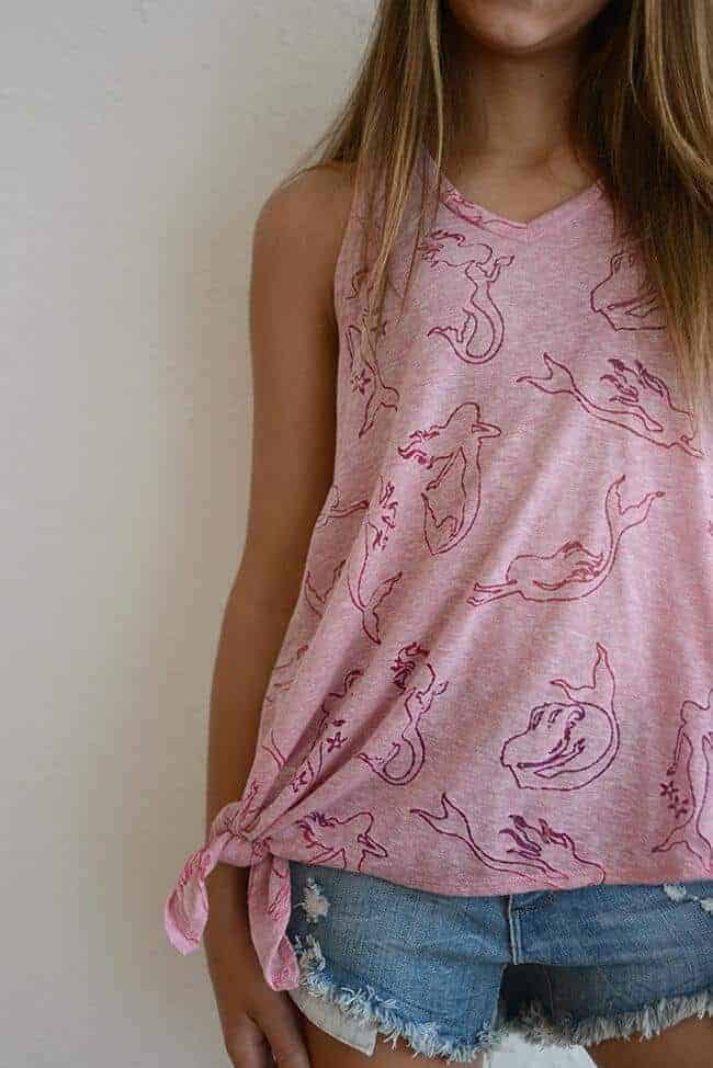 "Terez ""Pink Mermaid Burnout Side Tie"" Tank"