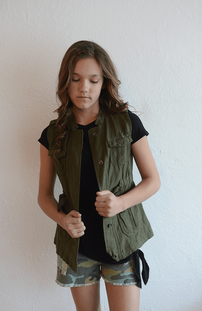 """Tractr """"Olive Button-Down Vest w/ Drawstring Waist"""""""