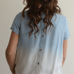 """Tractr """"Denim Washed Out Top  w/ Button-Down Back"""""""