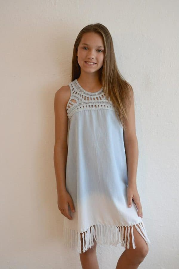 """Tractr """"Washed-Out Fringe Dress"""""""