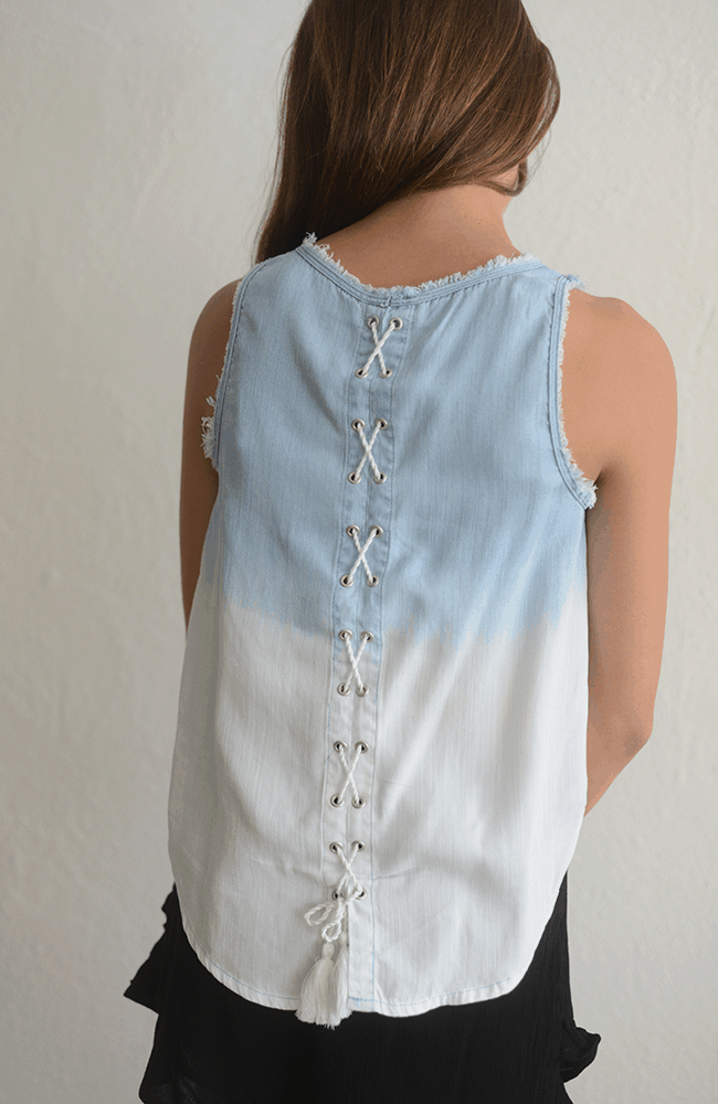 """Tractr """"Washed Out Tank w/ Lace Up Back"""""""
