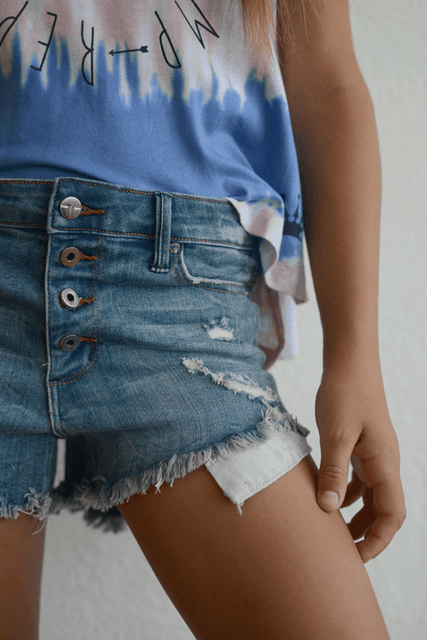 "Tractr ""Denim Button-Up Shorts"""