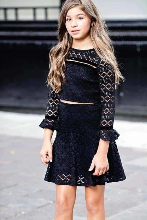 "Gigi Ri ""The Lyndsey Dress"" Black Two-Piece Crop Top"