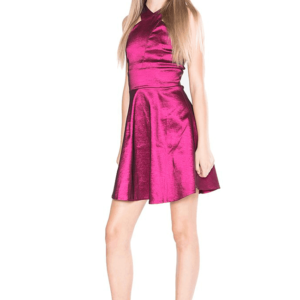 """Girls Chrissy Satin Dress"" Plum"