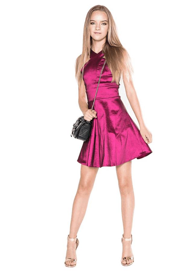 """Girls Chrissy Satin Dress"" Plum"