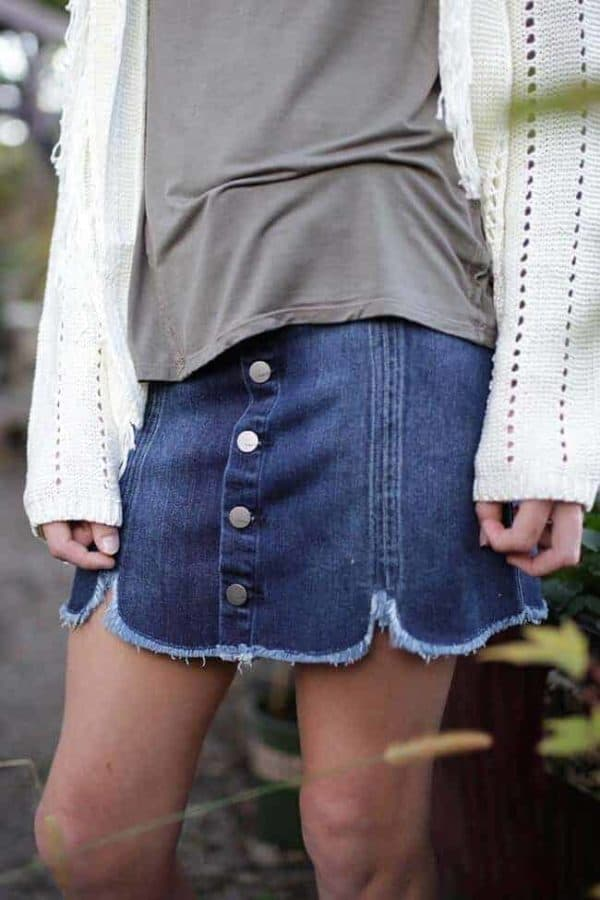 Girls Denim Button Down Skirt