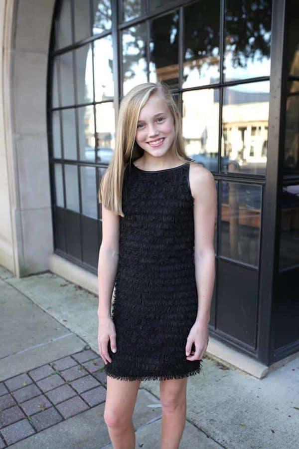 """""""Girls Fringe Dress"""" Black"""