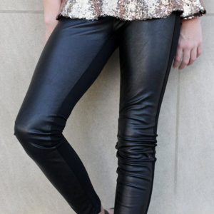 """Girls Leggings w/ Faux Leather Front"" Black"