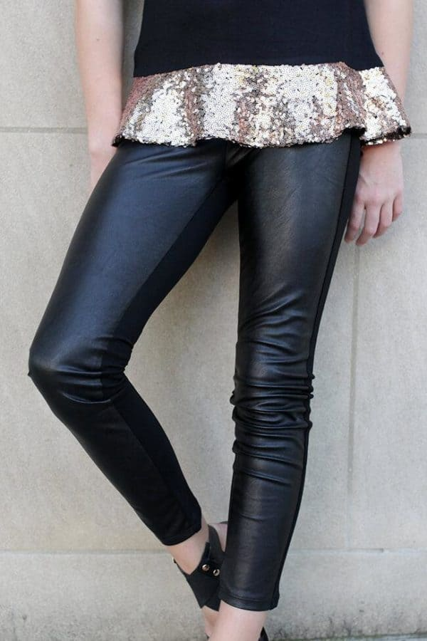"""Girls Leggings w/ Faux Leather Front"" Black"