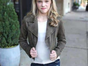 Girls Suede Jacket Olive