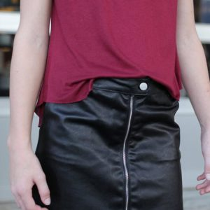 """Girls Faux Leather Skirt w/ Front Zipper"" Black"