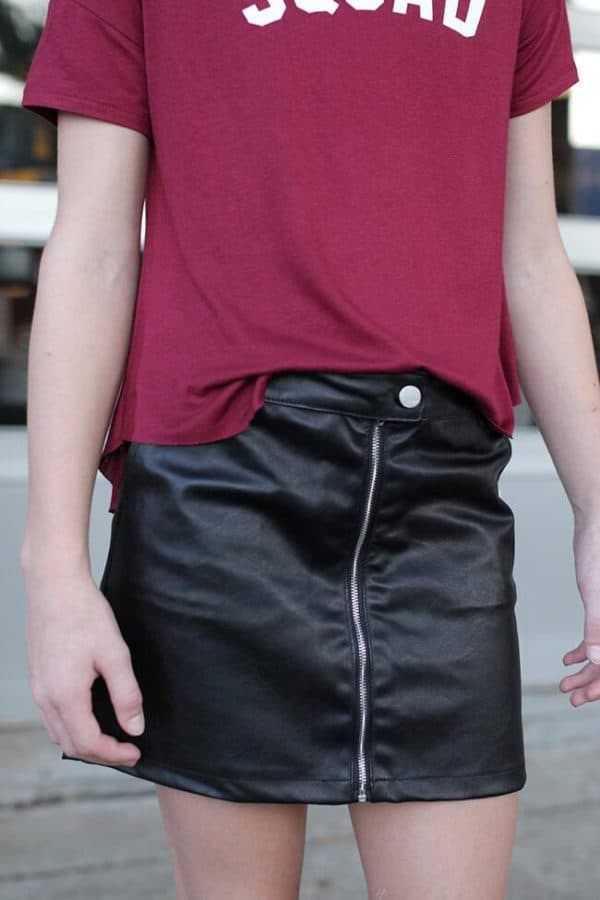 """Girls Faux Leather Skirt w/ Front Zipper"" Black"