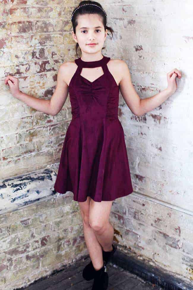 "Gigi Ri ""The Marlene Dress"" Burgundy"