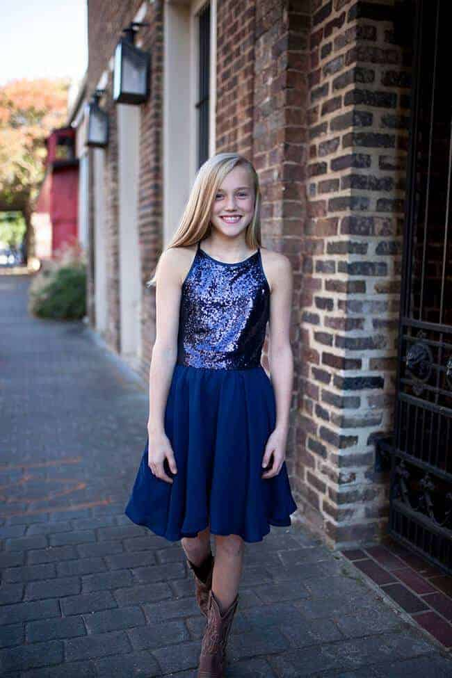 Girls Sequin Josie Dress Navy