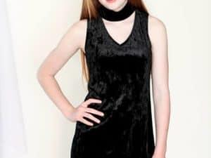 Girls Choker Velvet Dress Black