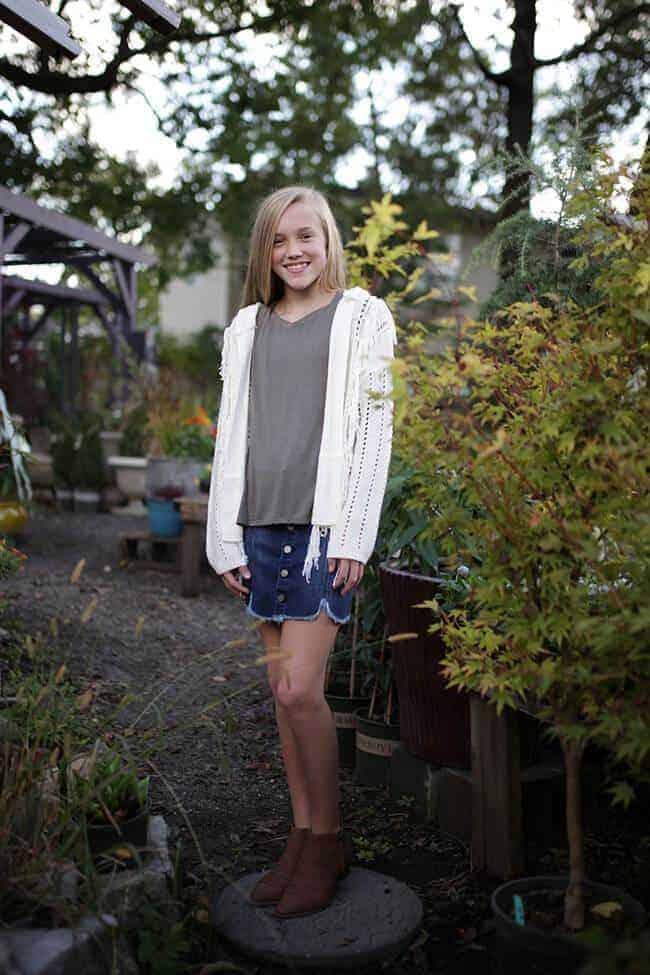 Girls Knit Cardigan Ivory