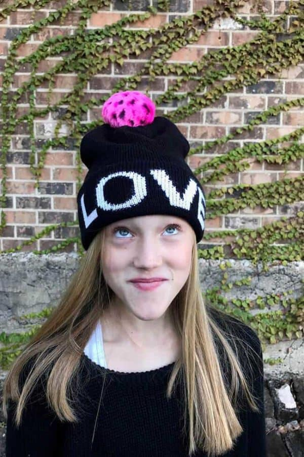 Girls LOVE w/ Pom Pom Hat