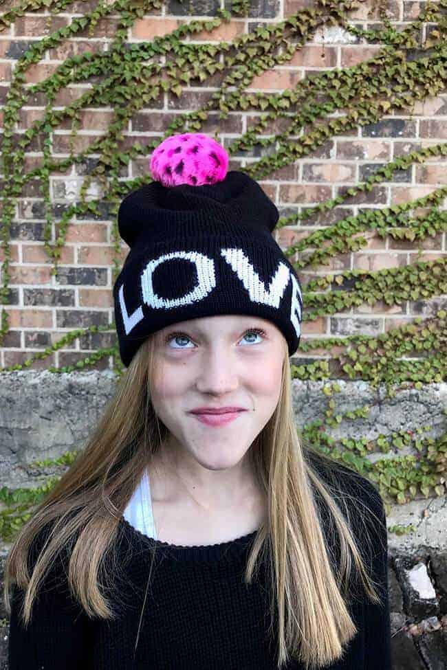 Girls LOVE w/ Pom Pom Hat